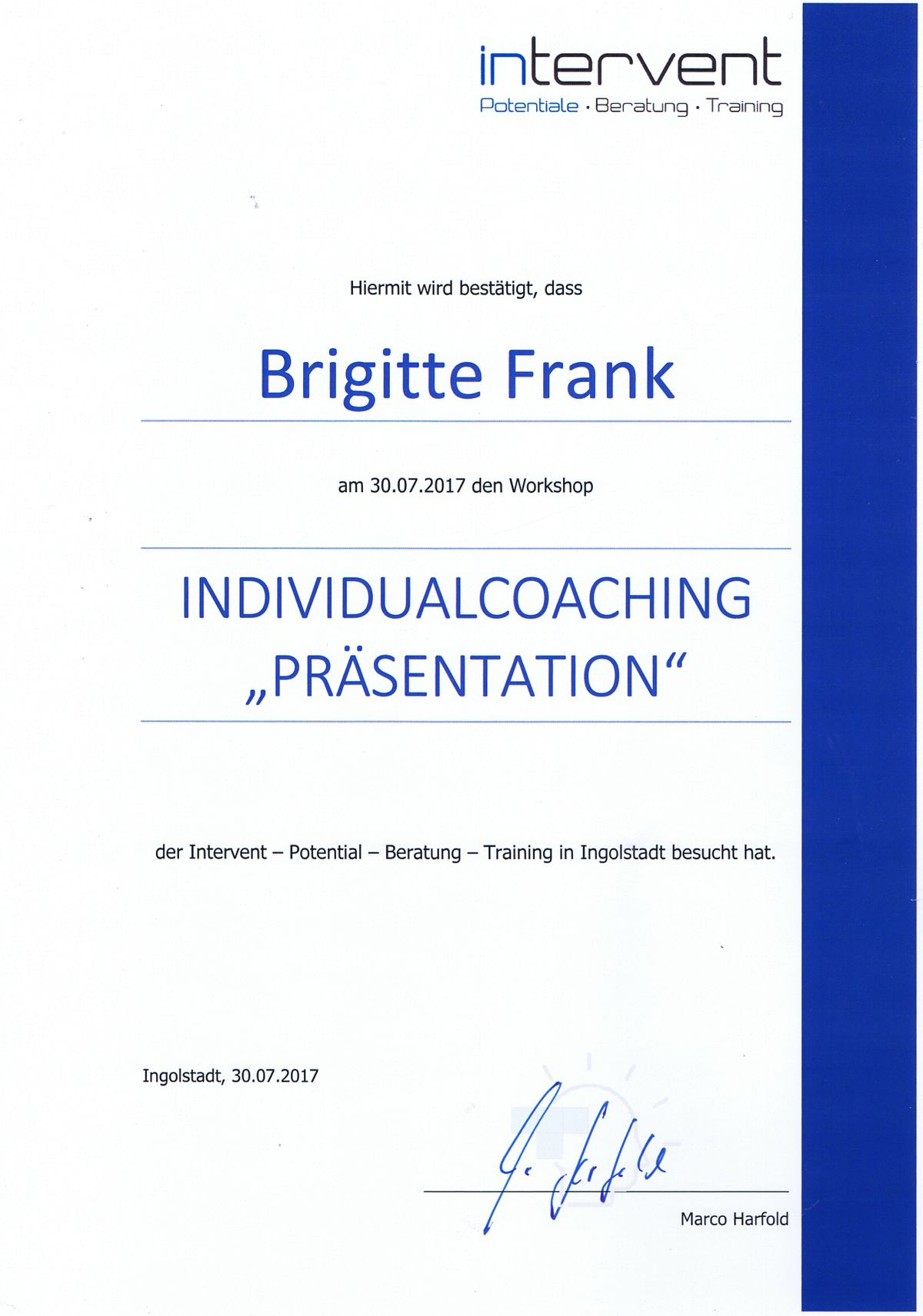 Individualcoaching Präsentation